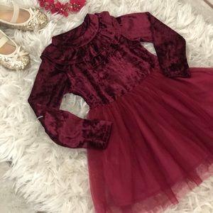 Dresses - NWT Girls Deep Red Velvet Long Sleeve Tulle Dress